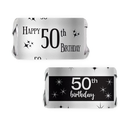 Silver Foil 50th Birthday Candy Wrappers 54ct