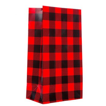 Sacks For Sack Races (Red & Black Buffalo Check Gift Sacks Outdoors Lumberjack Party Supplies 12)