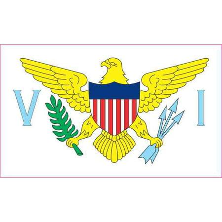 4.25in x 2.5in Virgin Islands Flag Sticker Vinyl Car Bumper Window