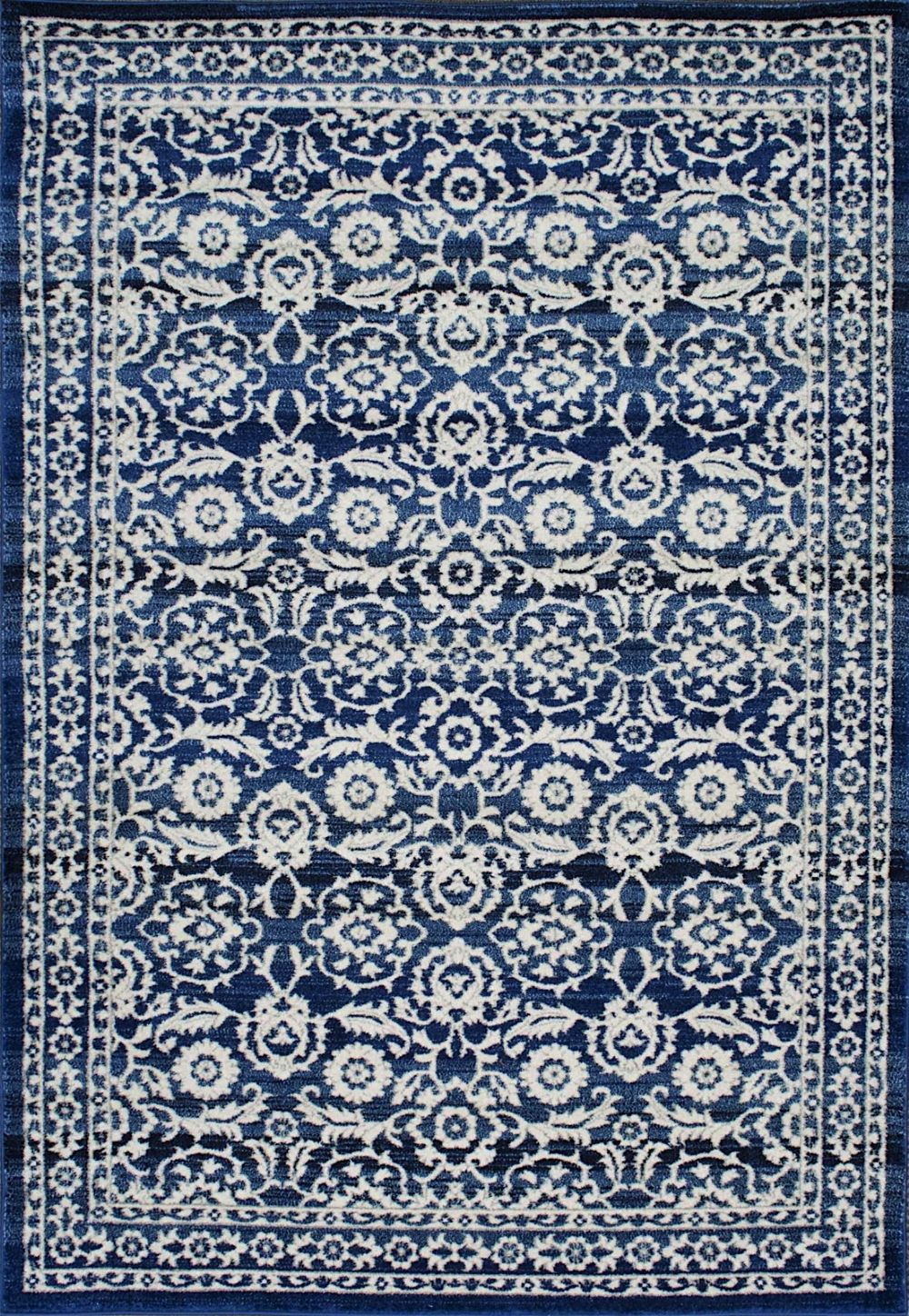Country & Floral Turnbull Collection Area Rug in Dark Blue and Oval, Rectangle, Round,... by nuLOOM