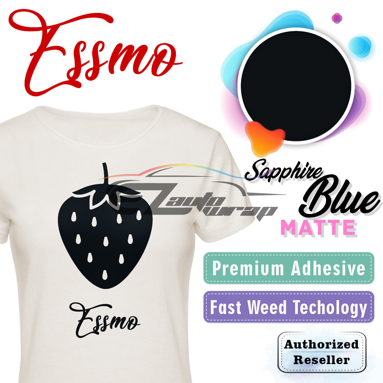 "ESSMO Sapphire Blue Matte Solid Heat Transfer Vinyl HTV Sheet T-Shirt 20"" Wide Iron On Heat Press 20""x12"""