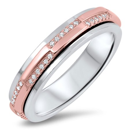 Men Women Sterling Silver Rose & Silver Two Tone CZ Pave Set Design Spinner Ring 5MM ( Size 5 to 12 (Sterling Silver Two Tone Ring)