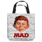 Mad Alfred Head Tote Bag White 18X18