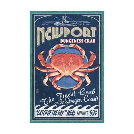 Newport, Oregon - Dungeness Crab Vintage Sign Print Wall Art By Lantern (Cooking Dungeness Crab)