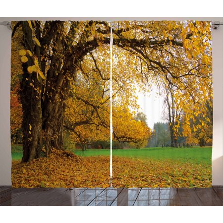 Fall Decor Curtains 2 Panels Set, Autumnal Park with Big Ancient Oak Tree Deciduous Leaves Greenery, Window Drapes for Living Room Bedroom, 108W X 90L Inches, Earth Yellow Brown Green, -