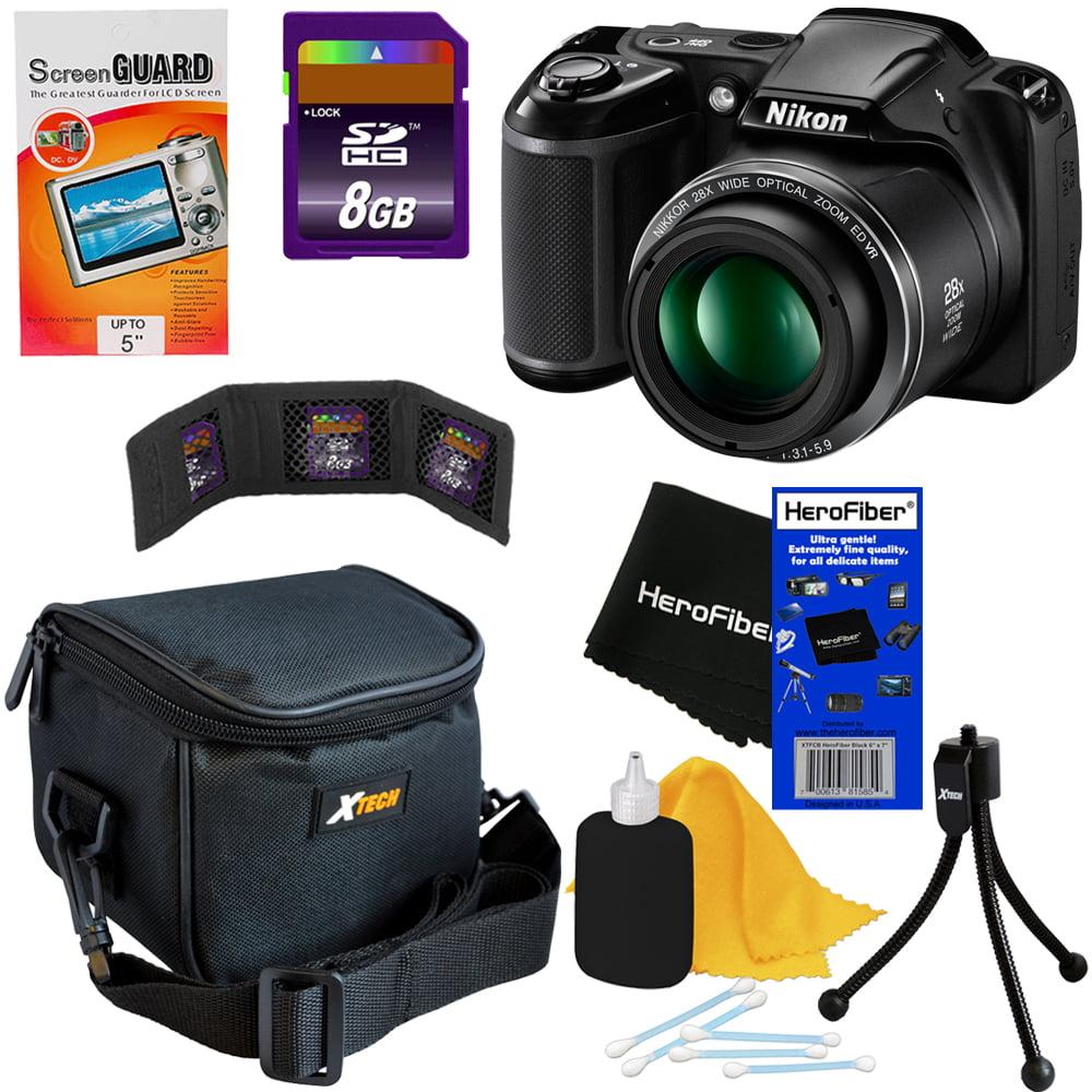 Nikon COOLPIX L340 20.2 MP Digital Camera with 28x Zoom NIKKOR Lens & Full HD 720p Video Recording (Black) + 7pc Bundle 8GB Accessory Kit w/ HeroFiber Ultra Gentle Cleaning Cloth