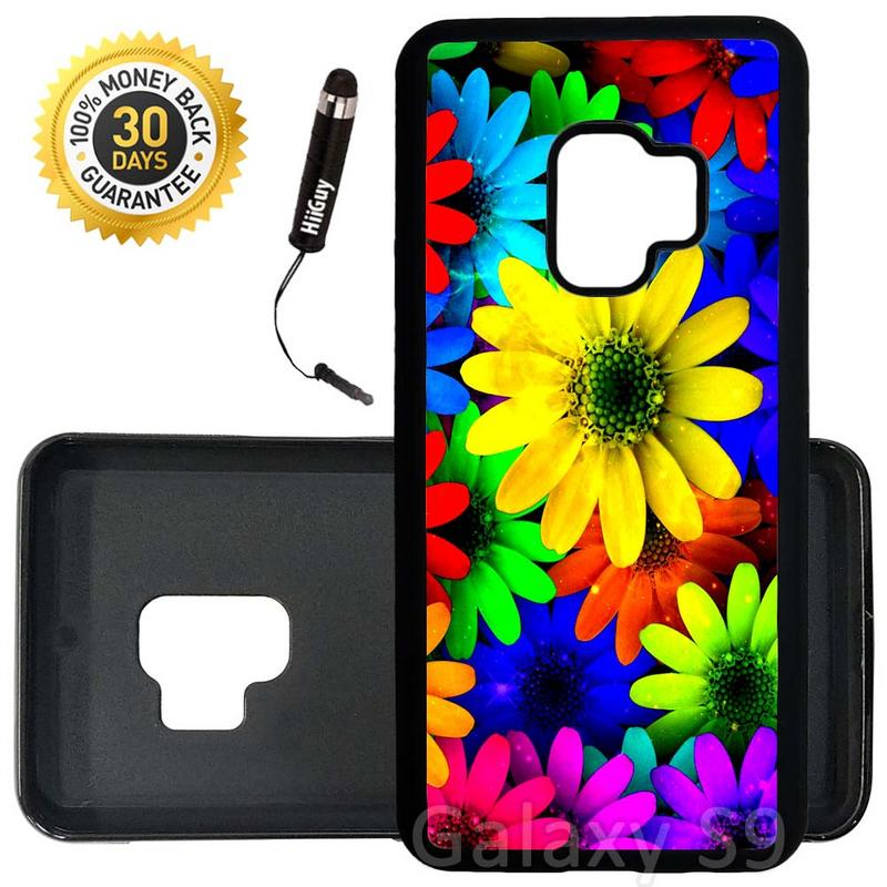 Custom Galaxy S9 Case (Rainbow Sunflower Sparkle) Edge-to-Edge Rubber Black Cover Ultra Slim | Lightweight | Includes Stylus Pen by Innosub