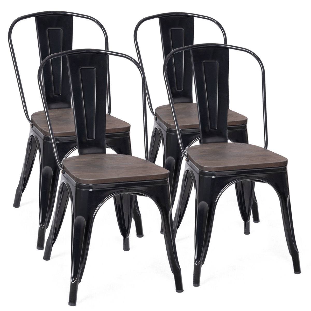 Costway Set of 4 Dining Side Chair Stackable Bistro Metal Wood Stool Black