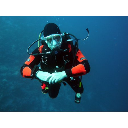 Canvas Print Water Scuba Divers Diving Dive Man Underwater Stretched Canvas 10 x 14 for $<!---->