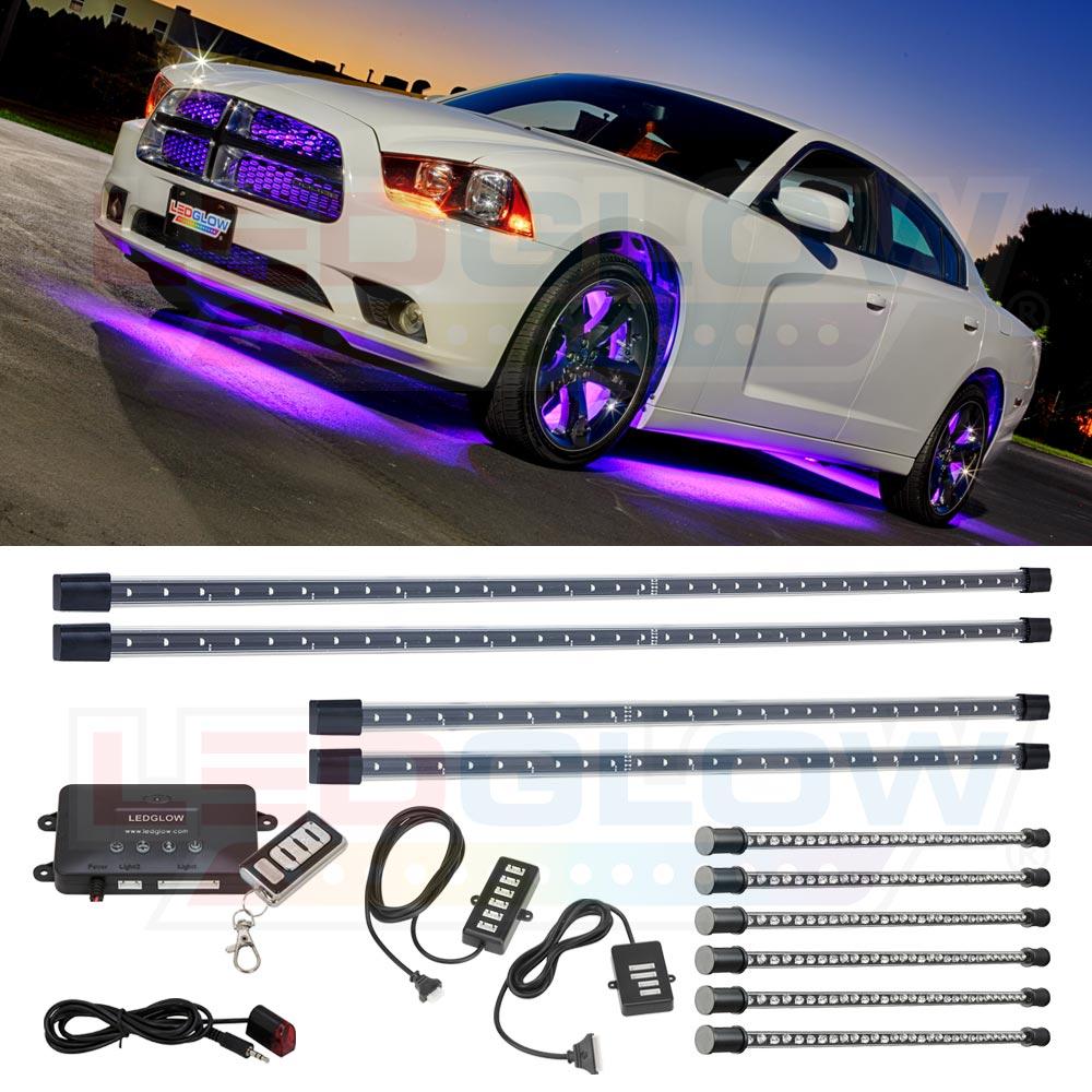 LEDGlow 4pc Purple Wireless LED Underbody Underglow U0026 6pc Interior Lighting  Light Kit