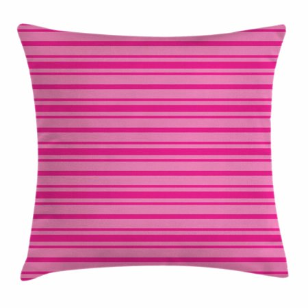 Horizontal Board (Hot Pink Throw Pillow Cushion Cover, Horizontal Bold and Thin Stripes in Pink Tones Geometrical Classic Composition, Decorative Square Accent Pillow Case, 18 X 18 Inches, Pink Hot Pink, by)