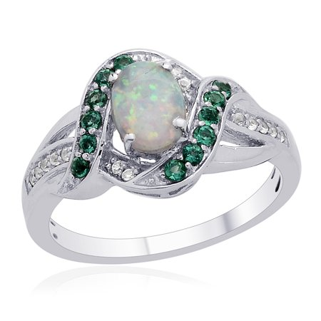 Stylish Unique 925 Sterling Silver Oval Created Milky Opal Multi Gemstone Cluster Cocktail Promise Ring Jewelry for Women Size 7 Gemstone Cluster Cocktail Ring