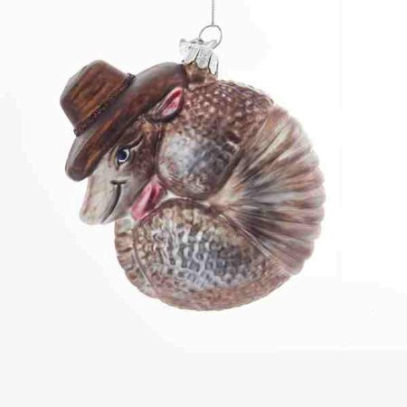 Noble Gems Western Armadillo Glass Christmas Tree Ornament 3.5 Inch NB1386 New