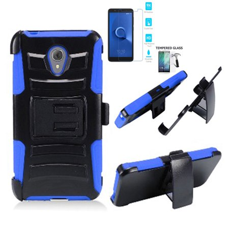 Phone Case for Alcatel Avalon V / TracFone Alcatel TCL LX (Straight Talk) / AT&T IdealXtra Case / 1X Evolve Tempered Galss Combo Holster with Belt Clip (Holster Blue Edge with Tempered