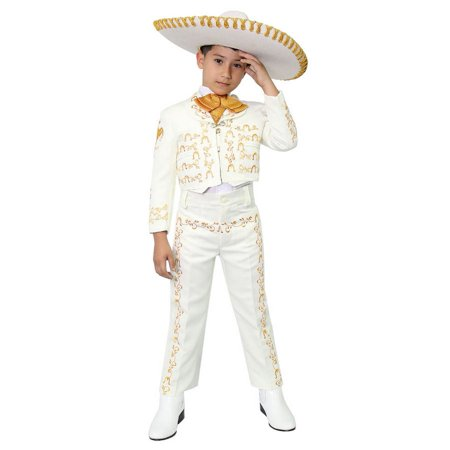 Boys Ivory Gold Embroidered Mariachi Pants Jacket Hat Set