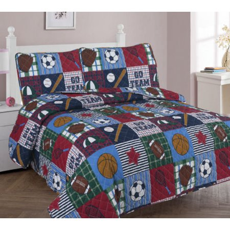 3-PC FULL RUGBY Bed Cover Bedspread Coverlet Quilt Set for Kids and Teens