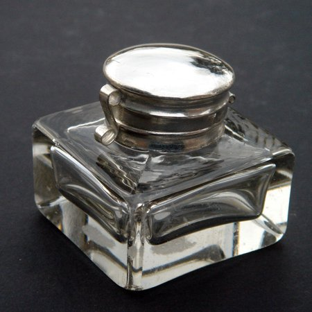Antique CLEAR GLASS INKWELL writing pen box ink well