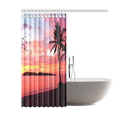 Waterproof polyester Shower Curtain with hooks Bathroom Sunset trees and birds