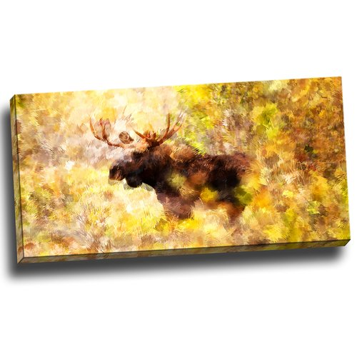 "Design Art Magnificent Moose, Art on Canvas, 32"" x 16"""