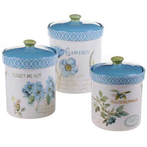 Certified International Greenhouse 3 Piece Kitchen Canister Set
