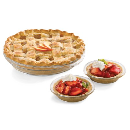 Libbey Baker's Basics 6-Piece Glass Pie Plate Set with Deep Pie Plates and Mini Pie Dishes