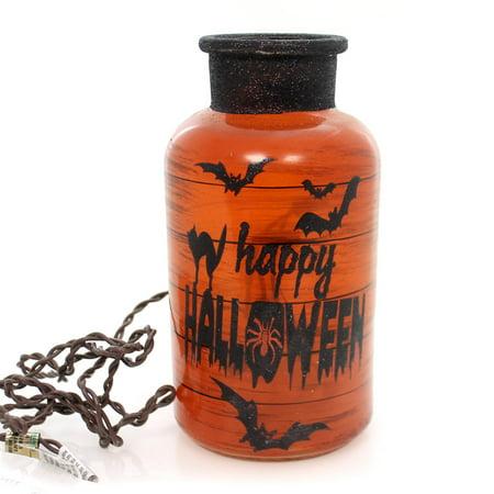 Stony Creek HALLOWEEN LIT JAR Glass Bats Spiders Haunted (Glass Jar Lights Halloween)