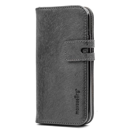 iPhone X Case, Maxessory Executive Luxury Premium Real Genuine Leather Wallet Folio Protector Carrying Cover w/ Folding Credit Card Holder