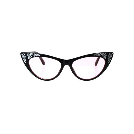 9fb5ff835e1 SA106 - Womens Cat Eye Gothic Bling Engraving Diva Sunglasses Black Pink -  Walmart.com