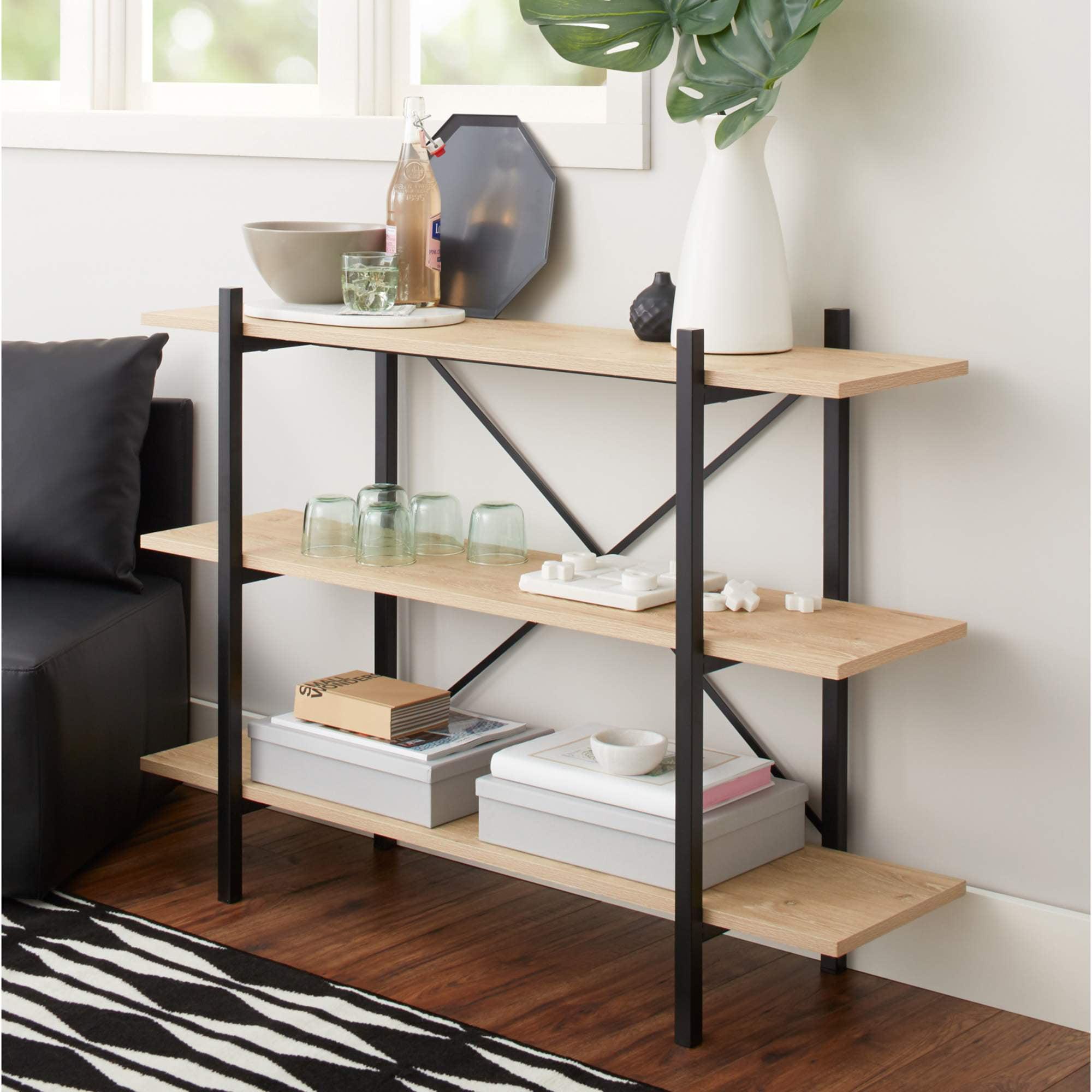 "Mainstays 34"" Conrad 3 Shelf Bookcase, Black"