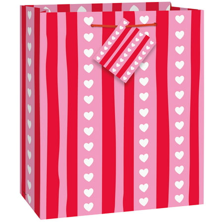 Striped Valentine's Day Gift Bag, 9 x 7 in, Red & Pink, 1ct](Valentines Day Gift Bags)
