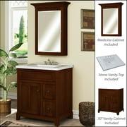 Miseno MVGH30COM 30in Bathroom Vanity Set - Cabinet, Stone Top and Medicine Cabinet Included