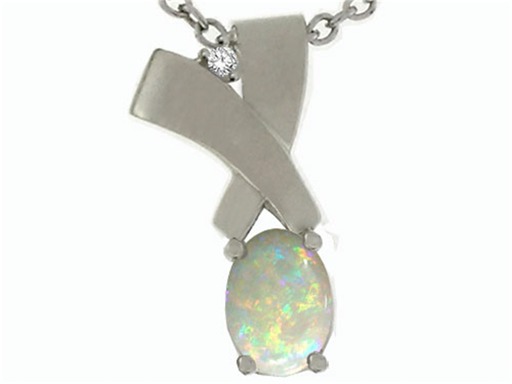 Tommaso Design Oval 7x5mm Genuine Opal Pendant Necklace by