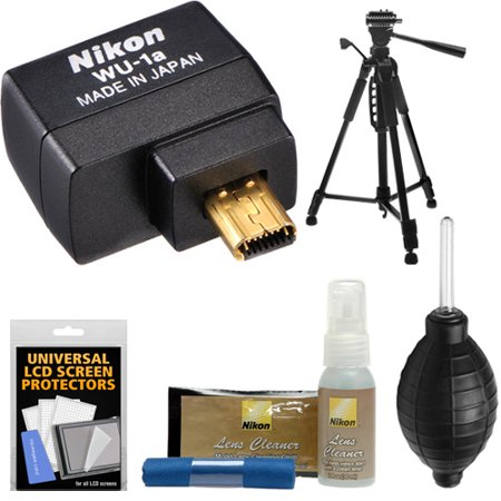 Nikon WU-1a Wireless Wi-Fi Mobile Adapter for Apple IOS or Android + Tripod + Kit for Coolpix A, P330, P520, P530, P7800, DF, D3200, D3300, D5200 & D7100 DSLR Camera