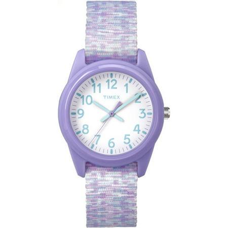 Timex Girls Time Machines Analog Resin Watch  Purple White Sport Elastic Fabric Strap