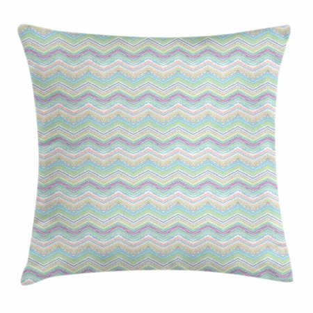 Hand Painted Stripes - Pastel Throw Pillow Cushion Cover, Hand Painted Style Tribal Design with Zigzag Triangle Motifs Ethnic Stripe Line, Decorative Square Accent Pillow Case, 18 X 18 Inches, Multicolor, by Ambesonne