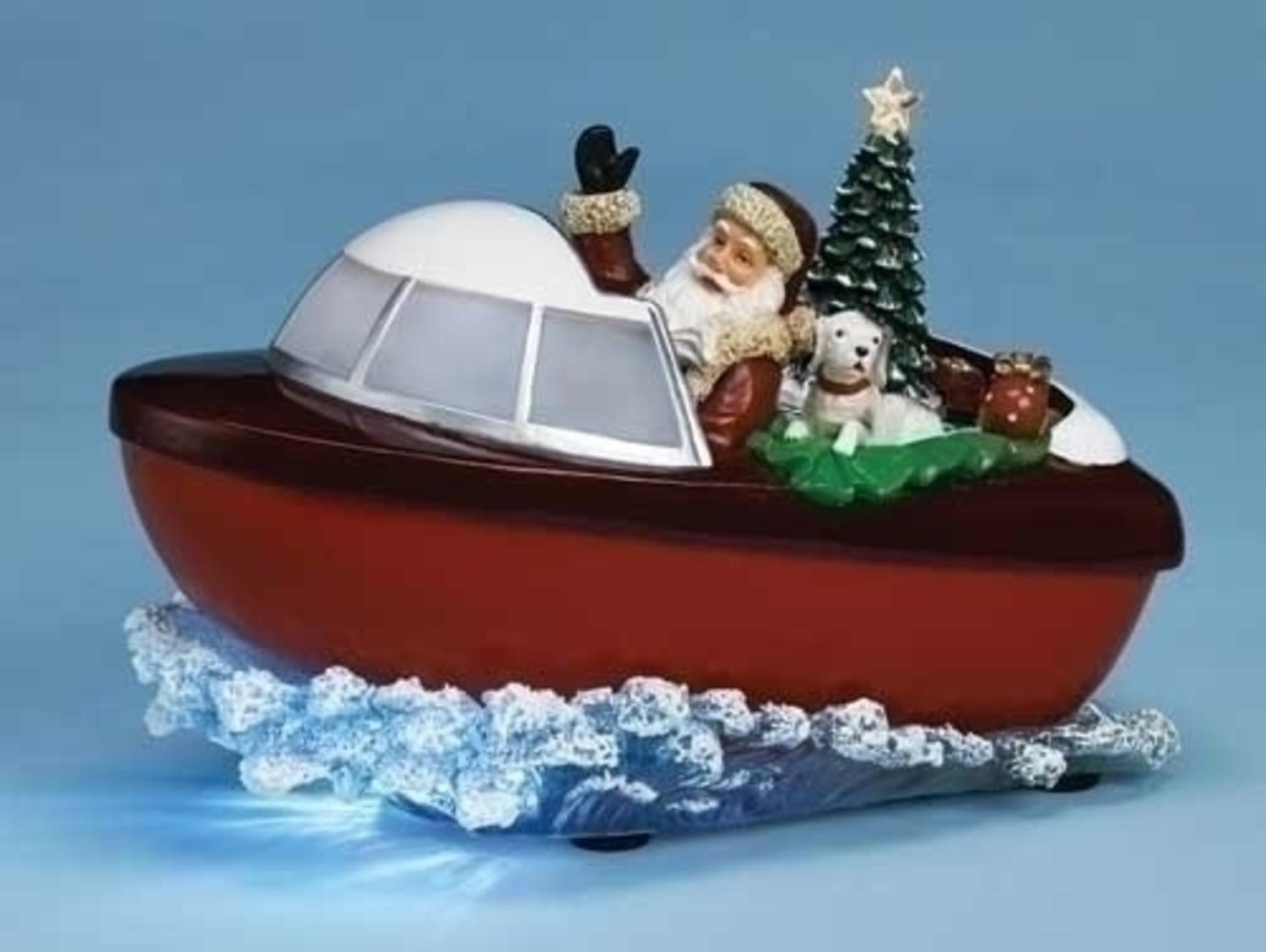 95 musical lighted santa claus and tree in boat christmas decoration walmartcom