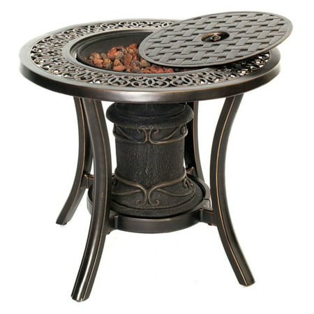Outdoor Fire Pit Coffee Table.Hanover Outdoor 10 000 Btu Cast Top Fire Pit Side Table