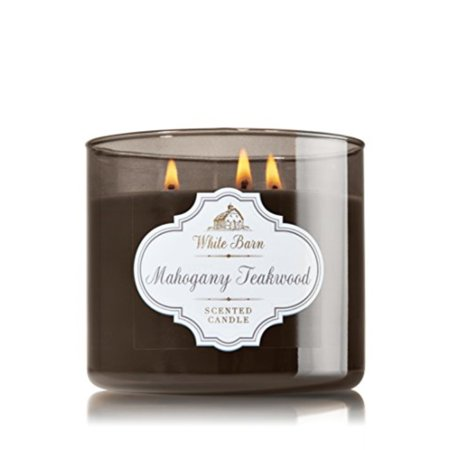 1 x bath & body works white barn mahogany teakwood scented 3 wick candle 14.5 oz./411 g ()