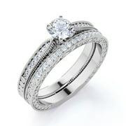 .83 ct Round Real Diamond - Vintage - Milgrain - Edwardian Wedding Ring Set - 10K White Gold