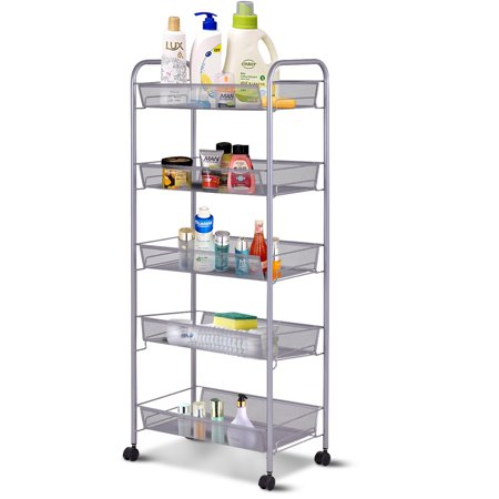Zimtown 5 Tier Mesh Shelving Rack Shelf Kitchen Pantry Storage Rolling Utility