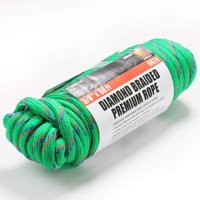 Wellmax Diamond Braid Nylon Rope, 3/8 inch by 50 Feet Green Color, Heavy Duty