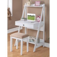 "GHP 30""x23""x52"" White Wood Modern Ladder Shelf Storage Writing Desk w Cushioned Stool"
