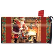 santa by the fireplace magnetic mailbox cover christmas standard