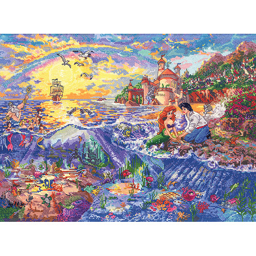 """Disney Dreams Collection By Thomas Kinkade Little Mermaid , 16"""" x 12"""" 18 Count"""