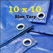 10' X 10' Premium Blue Multi-Purpose 6-mil Waterproof Poly Tarp Cover 10x10 Tent Shelter Camping Tarpaulin by