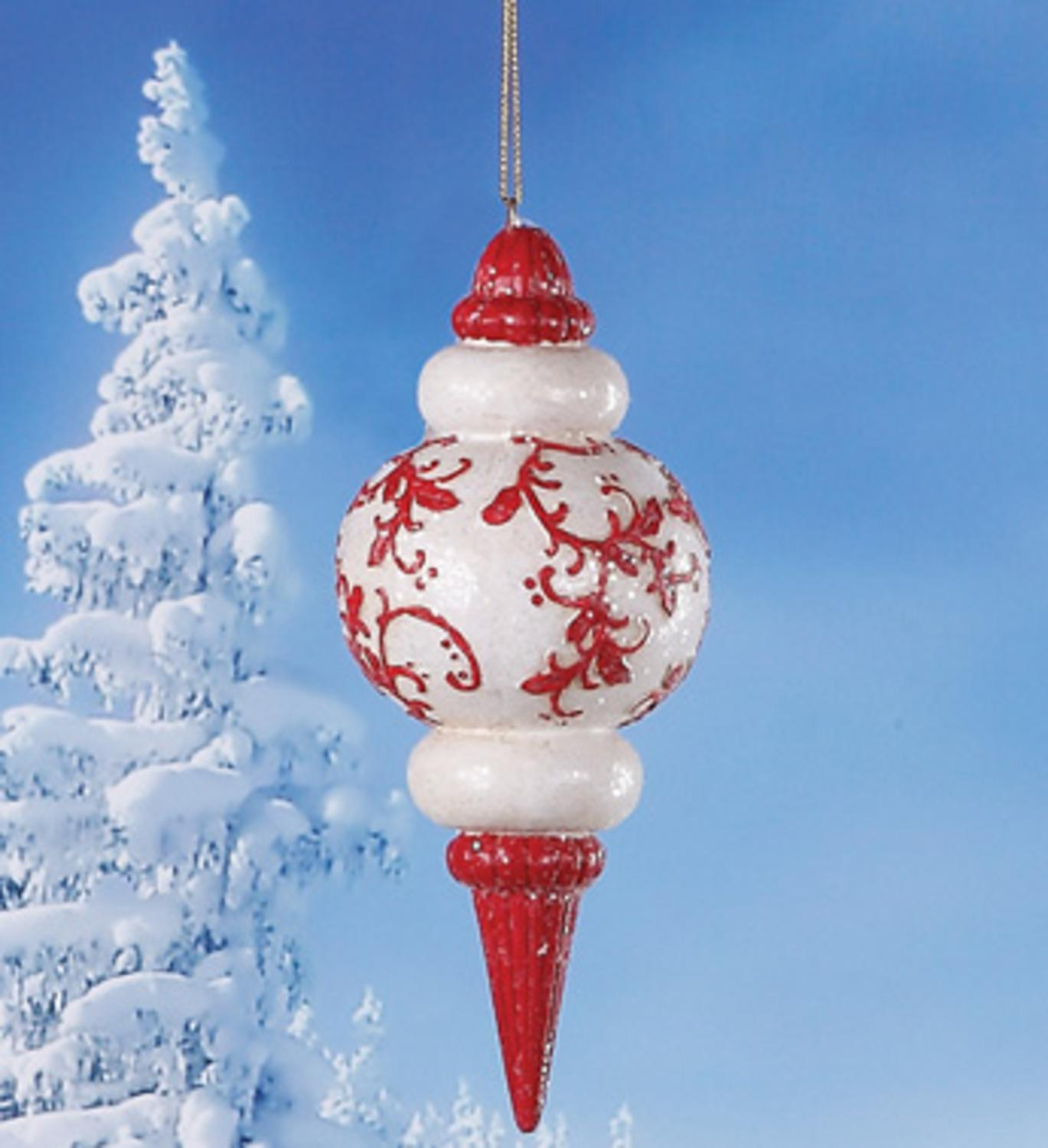 "6.75"" Alpine Chic Red and White Holly Glittered Finial Christmas Ornament"