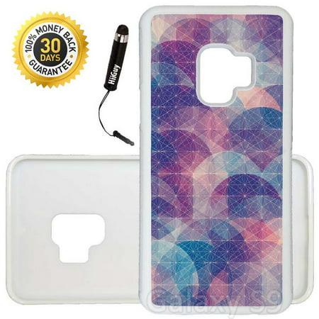 Custom Galaxy S9 Case (Purple Pink Geometric Design) Edge-to-Edge Rubber White Cover Ultra Slim | Lightweight | Includes Stylus Pen by Innosub