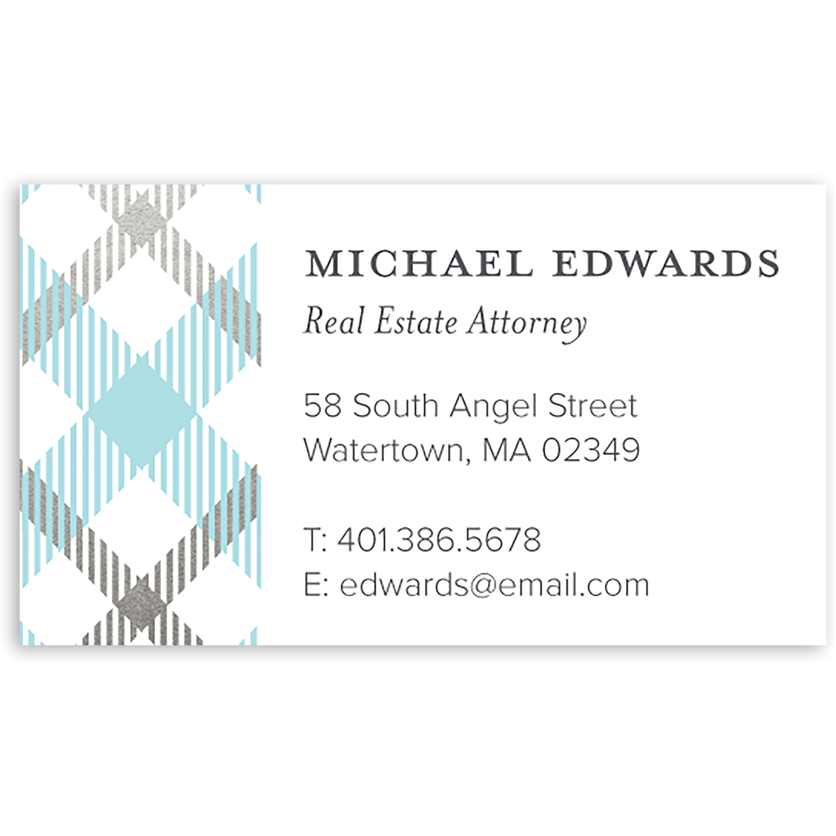 Plaid - Personalized 3.5 x 2 Business Card