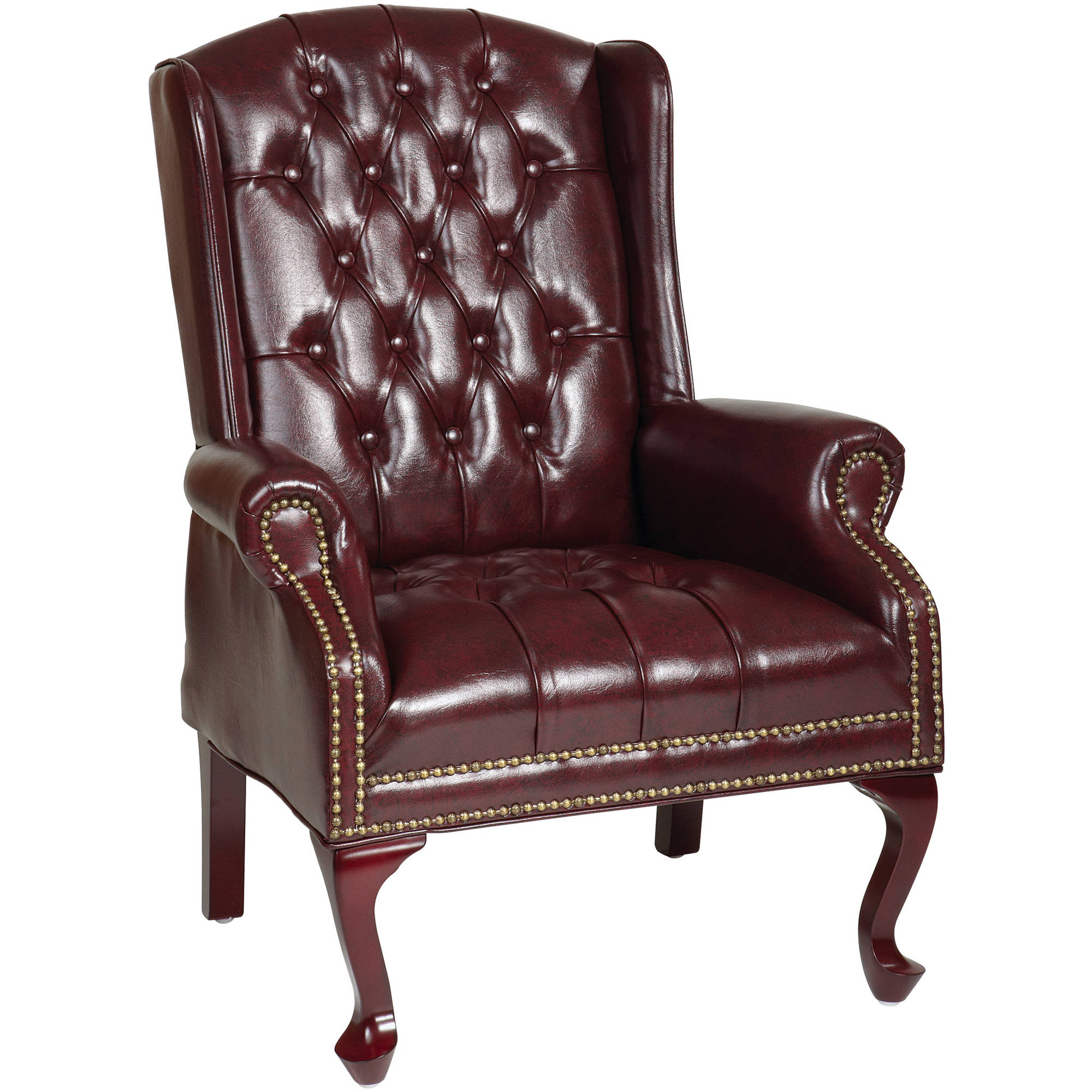 Work Smart Traditional Queen Anne Style Chair, Mahogany