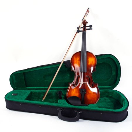 Classic Solid Wood Violin Case Bow Violin Strings Rosin Shoulder Rest Tuner